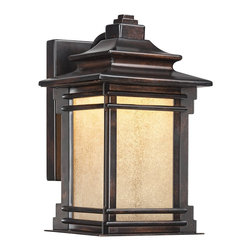 "Franklin Iron Works - Arts and Crafts - Mission Hickory Point 12"" High Outdoor LED Light - Brighten your home's exterior with this outdoor LED wall light. The design features a classic carriage house look. It comes in a bronze finish with copper highlights and has frosted cream glass panels. Behind the panels is a 16 watt LED module that has the same light output as a regular 100 watt incandescent bulb but uses far less energy. A Franklin Iron Works outdoor light design. Light output of 1300 lumens. 12"" high. 7 1/2"" wide. Extends 9 1/4"" from the wall.  Hickory Point outdoor LED light.  By Franklin Iron Works.  Bronze finish.  Copper highlights.  Frosted cream glass panels.  Energy saving design.  16 watt LED module.  Not dimmable.  California Title 24 compliant.  Equal to a 100 watt incandescent.  Light output of 1300 lumens.  12"" high.  7 1/2"" wide.  Extends 9 1/4"" from the wall.  Back plate 9""high x 5"" wide."