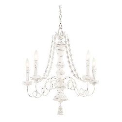 Minka-Lavery - Jessica McClintock Home Accents Provence Provencal Blanc Five-Light Chandelier - Five-Light Chandelier in Provencal Blanc Finish  Minka-Lavery - 1295-648