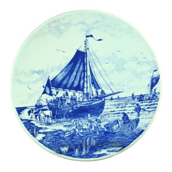 Chemkefa - Consigned Vintage Transferware Blue Delft Plate Boat - Product Details