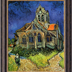 "Amanti Art - The Church at Auvers, 1890  by Vincent van Gogh - The art of presentation is alive and well. This reproduction of Vincent van Gogh's brilliant ""Church at Auvers"" is reproduced on artist-quality, 100% cotton canvas, and framed in ornately carved wood that's been beautifully finished in antique gold. Hang it on the wall, and suddenly you're minutes from the Musée d'Orsay."