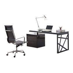 J&M Furniture - KD01 Modern Office Desk in Black Lacquer - Combining simple design with bold geometric shapes, the desk comes in black lacquer finish with chrome accent. KD01 modern office desk has 2 drawers and can additionally be locked for privacy.