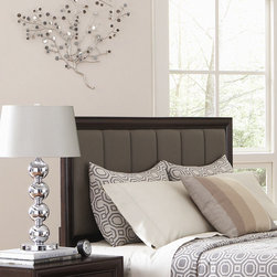 Wildon Home � - Adams Panel Headboard - A stylish centerpiece sure to add comfort and catch eyes, this upholstered bed is an exceptional way to furnish your bedroom. A piece that pairs well with all manner of design schemes and linen colors, this bed features the look of a beveled, low profile footboard, block legs, and a padded and channeled headboard furnished in grey vinyl. Read and watch TV in bed comfortably with this cushioned headboard in grey. The case pieces also feature an embossed effect giving them a luxurious look. Features: -Cushioned headboard.-Product Design: Panel.-Distressed: No.-Light cappuccino finish.-Adams collection.-Distressed: No.-Frame Included: No.