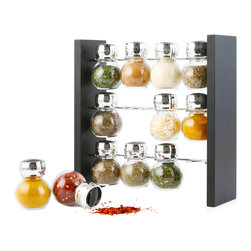None - Orii Chrome/ Wood Black 12 Jar Spice Rack - Featuring unbreakable jars filled with 12 of your favorite savory gourmet herbs and spices,this unique rack brings form and function together in a sophisticated presentation. The sift and flip lids make for easy pouring.