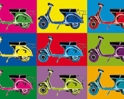Vesparama Wall Mural - The fun feel of a Vespa bike is captured in this vibrant wall mural.