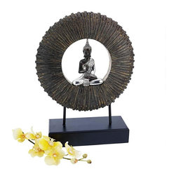 EttansPalace - Meditation Ancient Buddha Statue Sculpture - Using an ancient Eastern hand position to indicated that he is ready to pass along knowledge, this wise Asian Buddha sits suspended in the midst of the circle of life that bathes him in the light of time. This free-standing centerpiece sculpture symbolizes centuries-old Oriental wisdom as it sits atop a faux ebony museum base, all cast in quality designer resin with an aged stone and silver finish for proud gallery display.