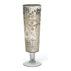 Go Home - Pair Of Glass Flute Vases - Amazing Flute Vases are made from glass with antiqued etched silver finish.Put these vases mid of your dining table Sure it will enhance the beauty of your table.
