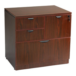 Boss Chairs - Boss Chairs Boss Combo Lateral File in Mahogany - The combo lateral file Features: a lateral file drawer a two box drawers and a file drawer that locks along with the lateral drawer. It can be used either free standing or under a desk shell. Floor glides allow for minimal leveling on uneven flooring surfaces. It is finished in Mahogany laminate.
