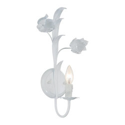 Crystorama - Crystorama Southport Wall Sconce in Wet White - Shown in picture: Southport Handpainted Wrought Iron Wall Sconce; Southport collection is handpainted with Wet White wrought iron frame. These soft colors match well with the whimsical wrought iron floral.