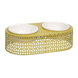 Lazio Metal Pet Feeder with Ceramic Bowls - Even Rover deserves a modern treat! Featuring metal geometric pattern, the Lazio pet feeder adds a stylish look to any area.