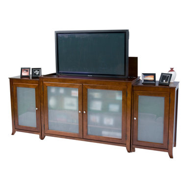 """Touchstone Home Products - Brookside Mocha Cherry TV Lift Cabinet with side cabinets for Flat Screen TV - The Brookside TV Lift Cabinet was one of the first models offered by Touchstone, and it has shown staying power by continuing to be one of our most popular units. If you're looking for a true showpiece to complete your entertainment tableau, the Brookside fits the bill. Its art-caliber design with solid lines and striking good-looks will serve as the focal point for your family or living room. This heirloom-quality cabinet with quiet, smooth electro-mechanical lift accommodates most 60"""" diagonal flat panel plasma and LCD TVs. It features solid birch with medium cherry veneers offset with tempered, frosted glass panels."""