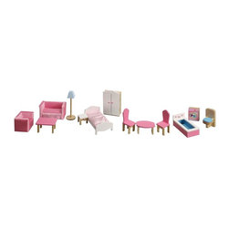 Teamson Kids - Pink Deluxe Doll House Furniture Set - Have your doll house well equip with our lovely and lavish 9 piece Deluxe Doll House Furniture Set. These doll furniture are made to last. Perfectly hand carved of the finest wood,, and vividly hand painted, you'll have your kids engulfed in toy land as they playfully act and play doll. * Set includes: toilet, wash machine, bathtub, table and 2 chairs, bed, night table, closet, lamp, and 3 piece sofa dining set. * Dimensions: 32.5 Length x 8.5 width x 4.5 Height