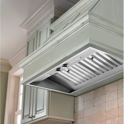 Vent-A-Hood 34.38W in. M Series Wall Mounted Liner Insert - Effortlessly augment your existing vent hood with the Vent-A-Hood 34.38W in. M Series Wall Mounted Liner Insert, a precision, modern unit with a variety of options. This set includes a corrosion-resistant stainless steel frame, outfitted with a stainless steel baffle filter to intercept air pollutants. The liner can be equipped with either a single- or dual-blower (with a maximum of either 625 or 1015 CFM), each featuring four speed options to help you clear the air of smoke, grease residue, offensive odors, and over-abundant heat. The unit is fitted to work with either a 6-inch (for single blowers) or 10-inch (dual-blowers) round ducts. Blower is not included and must be purchased separately. All the necessary switches are included. A set of 50W long-lasting halogen lights are included.About Vent-A-Hood For over 75 years, Vent-A-Hood has provided American consumers with a series of simple, long-lasting kitchen products. Based in Richardson, TX, their kitchen hoods boast a unique, proprietary design that's both easy to install and fire-safe. Family-owned since its inception in Dallas, Vent-A-Hood guarantees that customer satisfaction and product performance are its focal points. The company has far outgrown its door-to-door sales days, the company has expanded to reach national and international markets, solid in all fifty states, Canada, and beyond.