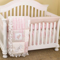 Cotton Tale Designs - Heaven Sent Girl Front Crib Rail Cover Up Set - A quality baby bedding set is essential in making your nursery warm and inviting. All Cotton Tale patterns are made using quality materials and are uniquely designed to create your perfect nursery. The Heaven Sent Girl Collection is a beautiful combination of Pinks and Cream. Touches of sheer cloud like fabrics and soft minky make this pattern irresistible. Heaven Sent Girl Front Crib Rail Cover Up Set includes fitted crib sheet, dust ruffle, coverlet, front rail cover up. The front cover up is both function and design, measuring 51 x 15. What a great idea, this front rail cover up protects your foot board on the convertible cribs and it looks great. For the parent choosing not to use a bumper, it can add the needed decor lost when the bumper is removed. The quilt is appliqued with spiritual messages celebrating the joy of birth. Heaven Sent, A Perfect Gift from God, The Lord is my Sheppard, and I am Wonderfully Made, are the four embroidered blessings on white linen patches accompanied by sweet appliqued angels, sheep and wrapped gifts. The sheet is 200 plus thread count and 100% cotton. The crib skirt is a shirred, fully lined, cream and pink floral, 16 inch drop. Perfect for your little girl. NO STANDARD BUMPER included in this set.