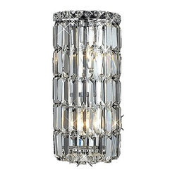 Contemporary Crystal Wall Sconce Modern Bathroom Lighting Fixture - Add some radiant style to your wall with this chrome and crystal wall sconce from Elegant Lighting's Maxim Collection. Elegant laser-cut crystals are multi-faceted that give the surface of this rounded wall sconce a shiny finish. Light bends and refracts off the crystal for a dazzling effect. Chrome hardware adds a bit of sharpness to this already pristine design. A great piece for transitional, modern or contemporary home decor.