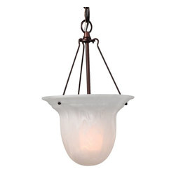 Dolan Designs Lighting - Mini-Pendant with Alabaster Glass - 661-30 - This mini-pendant features an alabaster glass shade in an elongated bowl shape and fits great in a bathroom, bedroom or dining area. The deep, rich royal bronze finish goes well with a variety of color schemes. Takes (1) 100-watt incandescent A19 bulb(s). Bulb(s) sold separately. UL listed. Dry location rated.