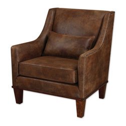 "Clay Leather Armchair - Relax In This Chair Featuring Velvety Soft Fabric That Captures The Look Of Natural Tanned Leather. Antiqued Brass Nail Heads Accent The Frame Along With Weathered Hickory Stained Legs And Base. Pillow Included. Seat Height Is 19""."