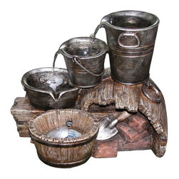"""Yosemite Home Decor - Three Tiered Water Bucket Fountain - This classic water bucket features three water buckets stacked casually, water flowing in a gentle stream from one into the next with a catch basin underneath. This fountain is approved for indoor or outdoor use. Features: -Material: Polyresin.-Comes complete with submersible pump.-Handcrafted out of polyresin which guarantees durability.-Great for indoor or outdoor use.-UL Certified.-Accent light included.-Lightweight construction allows easy placement and movement.-Collection: Fountain - Acce.-Fountain Component: No.-Finish: Multi-colored.-Distressed: No.-Powder Coated Finish: No.-Gloss Finish: Yes.-Material: Polyresin, fiberglass.-Number of Items Included: 1.-Weather Resistant: Yes -Weather Resistant Details: Weatherproof, weather resistant finish..-Water Resistant: Yes -Water Resistant Details: Waterproof, water resistant finish..-UV Resistant: Yes.-Rust Resistant: No.-Fade Resistant: Yes.-Hand Painted: Yes.-Handcrafted: Yes.-Style: Traditional.-Fountain Design: Urn.-Figurine: Pot.-Fountain Function: Floor.-Fountain Location: Outdoor/Garden.-Table Top Fountain: No.-Wall Mountable: No.-Birdbath: No.-Plumbing Required: Yes.-Pump Required: Yes.-Number of Pumps Required: 1.-Pump Included: Yes -Number of Pumps Included: 1.-Submersible Pump: Yes.-Recirculating Pump: Yes..-Powered: Yes -Power Source: Electricity.-Voltage Requirement: 110 V.-On/Off Line Switch: No..-Lighted: Yes -Bulb Included: Yes.-Bulb Type: LED.-Wattage per Bulb: 100 W..-Sound Level: Normal.-Flow Rate: 250 L/hr.-Adjustable Flow Rate: No.-Number of Spouts: 1.-Water Capacity: 2.38 gallons.-Humidifier: No.-Air Purifier: No.-Access Door: Yes.-Portable: Yes.-Outdoor Use: Yes.-Swatch Available: Yes.-Commercial Use: Yes.-Recycled Content: No.-Eco-Friendly: Yes.-Product Care: Wipe clean with a dry cloth and do not use a strong liquid cleaner.Specifications: -UL Listed: Yes.Dimensions: -Overall Height - Top to Bottom: 17.3"""".-Overall Width - Side to Si"""