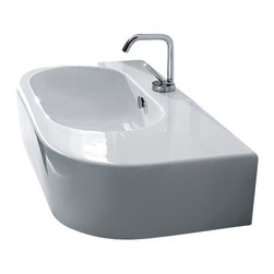 "WS Bath Collections - Flo 3143 Ceramic Sink 29.8"" x 16.5"" - Here's a beauty of a modern, white ceramic sink for your guest bath or powder room. Made in Italy, it comes in two sizes and offers just enough counter space for a soap dish or dispenser. You can install on wall or counter."