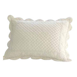 "Taylor Linens - Beth Standard Sham - The Beth Quilt has been delicately hand-stitched with soft scallops and cording detail. It is made from 100% cotton fabric and is machine washable. This sham comes in a soft cream color. 21""x27"""