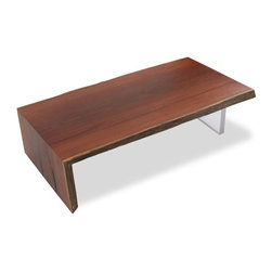 Rotsen Furniture - Solid Cumaru Wood and Acrylic Base Coffee Table - This Live Edge Coffee Table is made from a single slab of reclaimed wood Brazilian Cumaru Wood and a clear acrylic base. Each table is a unique statement piece.