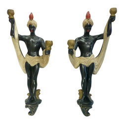 Consigned Vintage Blackamoor Chalkware Sconces, Pair - Midcentury Blackamoors rendered in classic chalk ware have seen their share of entertaining.  They never seem to tire of holding their torches and would be a dramatic way to welcome guests in an entry or light the way down the hall.
