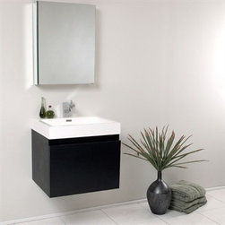 Fresca - Fresca Nano Black Modern Bathroom Vanity with Medicine Cabinet - This vanity is striking in its simplicity. Don't forget to check under the hood with the innovative storage system from Blum that includes a nested drawer. Perfect for smaller bathrooms. Many faucet styles to choose from. Optional side cabinets are available. Features MDF/Veneer with Acrylic Countertop/Sink with Overflow Nested Drawer Storage System (Soft Closing Drawers) Single Hole Faucet Mount (Faucet Shown In Picture May No Longer Be Available So Please Check Compatible Faucet List) P-trap, Faucet/Pop-Up Drain and Installation Hardware Included How to handle your counter Installation GuideView Spec Sheet
