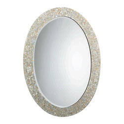 Jamie Young Mother-of-Pearl Oval Mirror - A pair of these shining mirrors would add glamour to a set of pedestal sinks. Add a few fluffy white towels, and the look is complete.