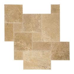 Walnut Brushed & Chiseled Travertine Tiles - Travertine Mart