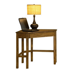 Hillsdale - Hillsdale Solano Corner Desk in Medium Oak - Hillsdale - Computer Desks - 4337862S - Need a space to pay bills do homework or work on your laptop but you don't have the room? Hillsdale Furniture's Solano desk is the perfect solution for your living room kitchen bedroom or den. Utilizing a small corner of your home this desk fits unobtrusively into your space to create an ideal small workspace. Available in a rich oak or deep cherry finish the Solano desk doubles as a lamp table or display table. Composed of solids and wood composites. Some assembly required.