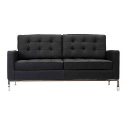 LexMod - Loft Leather Loveseat in Black - The mid-20th century was a time when hopes were at their highest. Technological developments were bustling forward, and the new world was just barely visible in the distance. But this time also presented a dilemma of sorts. The test of this forthcoming er
