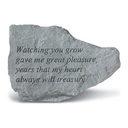 Kay Berry - Watching You Grow Garden Accent Stone Multicolor - 76120 - Shop for Statues and Sculptures from Hayneedle.com! Give the love of a parent to your garden with the Watching You Grow Garden Accent Stone. This garden stone is constructed of cast stone that will not crack or chip and is extremely weather-resilient. The natural carved blends easily to any garden or brings an alfresco air to any indoor space.About Kay Berry ProductsProudly hand-cast in the USA Kay Berry products offer kind sentiments and quality decor. From whimsical to poignant the verses on Kay Berry products are thoughtful and serve as a fine way to add both beauty and comfort wherever they're placed. Artisans craft Kay Berry designs from actual stone originals. Kay Berry products are meticulously reproduced using materials and methods developed in ancient Rome. Since the family-owned company's inception in 1991 pride and honor go into each and every Kay Berry item.Please note this product does not ship to Pennsylvania.