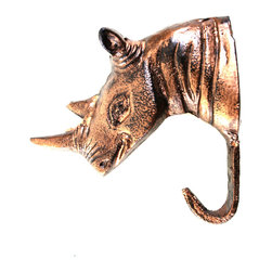 """MarktSq - Rhino Hook in Antique Copper Finish - Bring in the the outdoors with this delightful cast aluminum Rhino Hook. This hook features a gorgeous antique copper finish and will look incredible in your kitchen, bath or mud room. Each hook has a keyhole hook in the back for easy mounting. Approximate dimensions are H 4"""" x W 1.5"""" x D 4""""."""