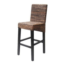 Andres Bar Stool, Espresso - I would use these great bar stools at a beach house or cottage. The dark shade of the woven sea grass is beautiful.