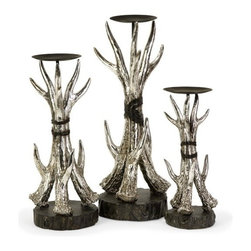 """IMAX - Antler Candleholders - Set of 3 - These set of 3 antler candleholders will bring a bit of country into every room. Item Dimensions: (10-14-16.5""""h x 6.75""""d)"""
