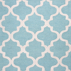 Jaipur Rugs - Modern Geometric Pattern Blue Wool Tufted Rug - CT21, 8x11 - Over scaled sharp geometrics characterize this striking contemporary range of hand tufted rugs. The high/low construction in wool and art silk creates texture and surface interest and gives a look of matt and shine.