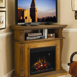 ClassicFlame - Corinth Home Theater Electric Fireplace (Vint - Finish: Vintage CherryTraditional design. Shelf for electronic media components. Integrated wire management. Egg and dart molded base. Can be configured as a wall or corner mantel. Carved leaf corbels with acanthus crown. Fluted side projected pilasters. Beveled base with decorative swag molding. Can be used with or without heat for all season enjoyment. Large viewable area. Patented LED on screen function indicator. Automatic on screen indicators. Energy saving all LED technology. Upgraded realistic resin logs and ember bed. Digital thermostat with numerical readout. Five flame brightness settings. On screen indicator works from remote or manual controls. Electronic timer function with automatic shut off from 30 minutes up to 9 hours. 1400 watt/4600 BTUs/hr heater blower can warm a 400 square foot room. Minimal assembly required. Insert: 23.6 in. W x 9.3 in. D x 20 in. H (27.5 lbs.). Mantel: 42 in. W x 28 in. D x 40 in. H (104.5 lbs.)
