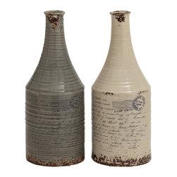 Set of 2 Unique and Vintage Themed Classy Ceramic Vases - Description: