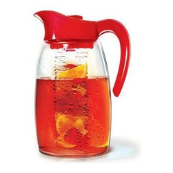Epoca - Tea Pitcher Cherry - Cherry Tea Pitcher.  Enjoy hot or iced tea either just tea or natural fruit infused tea as well as fruit infused water that you make right in the pitcher with this Flavor It 2.9 Qt. Pitcher from Epoca's Premium collection.  The Flavor It Pitcher is a do it yourself, take it anywhere, healthy pitcher.  Pitcher comes with one flavor infuser.