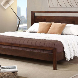 None - Kota King-size Platform Bed - Give your bedroom a modern touch with this stylish king-size platform bed. Made from sturdy rubberwood,this deluxe bed promises comfort and durability. The tobacco brown finish ensures it will blend in well with your existing furnishings.