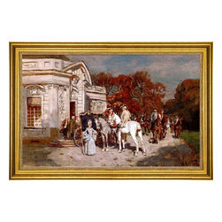 """Wilhelm Velten-16""""x24"""" Framed Canvas - 16"""" x 24"""" Wilhelm Velten Elegant Company At A Summer House framed premium canvas print reproduced to meet museum quality standards. Our museum quality canvas prints are produced using high-precision print technology for a more accurate reproduction printed on high quality canvas with fade-resistant, archival inks. Our progressive business model allows us to offer works of art to you at the best wholesale pricing, significantly less than art gallery prices, affordable to all. This artwork is hand stretched onto wooden stretcher bars, then mounted into our 3"""" wide gold finish frame with black panel by one of our expert framers. Our framed canvas print comes with hardware, ready to hang on your wall.  We present a comprehensive collection of exceptional canvas art reproductions by Wilhelm Velten."""