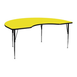 Flash Furniture - Flash Furniture Accent Table X-GG-A-H-LEY-YNDIK-6984A-UX - Flash Furniture's XU-A4896-KIDNY-YEL-H-A-GG warp resistant high pressure laminate kidney activity table features a 1.25'' top and a high pressure laminate work surface. This Kidney Shaped High Pressure Laminate activity table provides an extremely durable (no mar, no burn, no stain) work surface that is versatile enough for everything from computers to projects or group lessons. Sturdy steel legs adjust from 21.25'' - 30.25'' high and have a brilliant chrome finish. The 1.25'' thick particle board top also incorporates a protective underside backing sheet to prevent moisture absorption and warping. T-mold edge banding provides a durable and attractive edging enhancement that is certain to withstand the rigors of any classroom environment. Glides prevent wobbling and will keep your work surface level. This model is featured in a beautiful Yellow finish that will enhance the beauty of any school setting. [XU-A4896-KIDNY-YEL-H-A-GG]