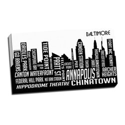 Picture it on Canvas - City Skyline Art, Baltimore - Black and white art prints show silhouettes of beloved cities with names of their respective neighborhoods printed in the buildings