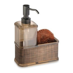 Interdesign Inc. - Interdesign Bronze Soap Dispenser Caddy - This attractive dispenser and caddy set adds just the right amount of style to your bathroom or kitchen. Functional and space saving, one side of the caddy holds the plastic soap dispenser, and the other side holds the included copper scrubber.