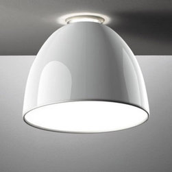 """Artemide - Artemide Nur mini Gloss ceiling light - The Nur mini Gloss ceiling light from Artemide has been designed by Ernesto Gismondi in 2009. This ceiling mounted luminaire is great for direct halogen and fluorescent lighting with subtle indirect lighting creating a halo on the ceiling. The Nur is composed of a dome shaped body/diffuser in spun aluminum available in a polished white or polished black. Lamping is either Halogen or Fluorescent. UL listed.  Product Details:   The Nur mini Gloss ceiling light from Artemide has been designed by Ernesto Gismondi in 2009. This ceiling mounted luminaire is great for direct halogen and fluorescent lighting with subtle indirect lighting creating a halo on the ceiling The Nur is composed of a dome shaped body/diffuser in spun aluminum available in a polished white or polished black. Lamping is either Halogen or Fluorescent. UL listed.  Details:       Manufacturer:     Artemide      Designer:    Ernesto Gismondi      Made in:    Italy      Dimensions:     Height: 11"""" (28 cm) Width: 14 3/16"""" (36 cm)       Light bulb:     1 X 150W halogen or 1 X 42W fluorescent       Material:     Aluminum"""