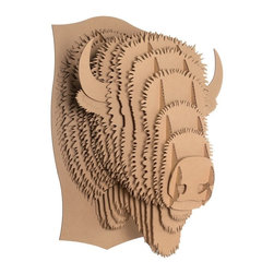 Zeckos - Cardboard Safari Medium Billy Jr. Buffalo Head Wall Sculpture - Cardboard Safari wall sculptures are an animal friendly, environmentally kind way to add a masculine touch to your decor. Made of recycled cardboard, each Cardboard Safari sculpture is laser cut for precision fit and easy assembly using slotted construction. They ship flat and assemble easily, if you use the included detailed instructions, or check out the assembly instructional videos on YouTube. This medium white 'Billy Jr' Bison head sculpture is a great accent decor piece for any room. It measures 10 3/4 inches tall, 6 3/4 inches wide and 7 3/4 inches deep, once assembled. The brown cardboard looks great by itself, but also allows you to show off your creative side, by adding paint, markers, glitter or wrapping paper to give Billy a touch of color. He makes a great gift for friends and family.
