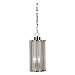 Robert Abbey - Cole Pendant, Small - Sleek and cylindrical with just enough shine, this pendant adds such sophistication to your favorite setting. A series of clear glass rods in a nickel-finished frame descends from the ceiling by a slender chain to make a simply stunning statement.
