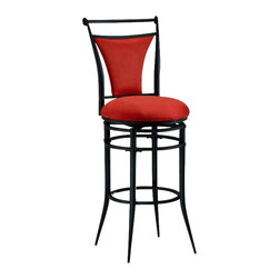 Hillsdale - Hillsdale Cierra 30 Inch Swivel Bar Stool in Red and Black - Hillsdale - Bar Stools - 4592831 - The Cierra collection is bold and contemporary turning heads and impressing guests with its svelte design sense and sturdy construction. Tastefully understated Cierra features tapering supports with a rich black finish for an eye-arresting appeal.