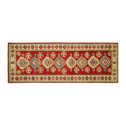Manhattan Rugs - New Pakistani Red Super Veg Dyed Kazak Hand Knotted Wool 2x6 Geometric Rug H5887 - Kazak (Kazakh, Kasak, Gazakh, Qazax). The most used spelling today is Qazax but rug people use Kazak so I generally do as well.The areas known as Kazakstan, Chechenya and Shirvan respectively are situated north of  Iran and Afghanistan and to the east of the Caspian sea and are all new Soviet republics.   These rugs are woven by settled Armenians as well as nomadic Kurds, Georgians, Azerbaijanis and Lurs.  Many of the people of Turkoman origin fled to Pakistan when the Russians invaded Afghanistan and most of the rugs are woven close to Peshawar on the Afghan-Pakistan border.There are many design influences and consequently a large variety of motifs of various medallions, diamonds, latch-hooked zig-zags and other geometric shapes.  However, it is the wonderful colours used with rich reds, blues, yellows and greens which make them stand out from other rugs.  The ability of the Caucasian weaver to use dramatic colours and patterns is unequalled in the rug weaving world.  Very hard-wearing rugs as well as being very collectable