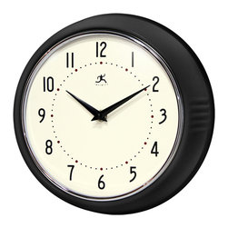 Infinity Instruments, Ltd. - Infinity Instruments Retro Iron Wall Clock, Black - Infinity Instruments Retro Wall Clock collection has been a staple in the interior design/wall décor accessories for well over a decade.  It has proven the test of time with a clean retro look that fits most, if not all, home décor layouts. There have been many copy cats but there is only one true  Retro Iron Wall Clock.
