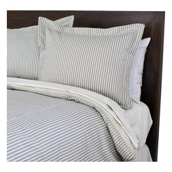 """Sands - Chooty - Berlin Blue Corded Standard Cut King Duvet and 2 King Flanged Shams - Timeless simplicity at its best!  This Duvet set includes a soft, stylish, blue and white, vertical striped duvet trimmed with cording that offers a fun accent of horizontal stripes. Matching 2"""" flange shams complete the ensemble. Bring a touch of classic contemporary style to any bedroom with this crisp, comfortable set. (Queen Size - 90""""W x 94""""L)"""
